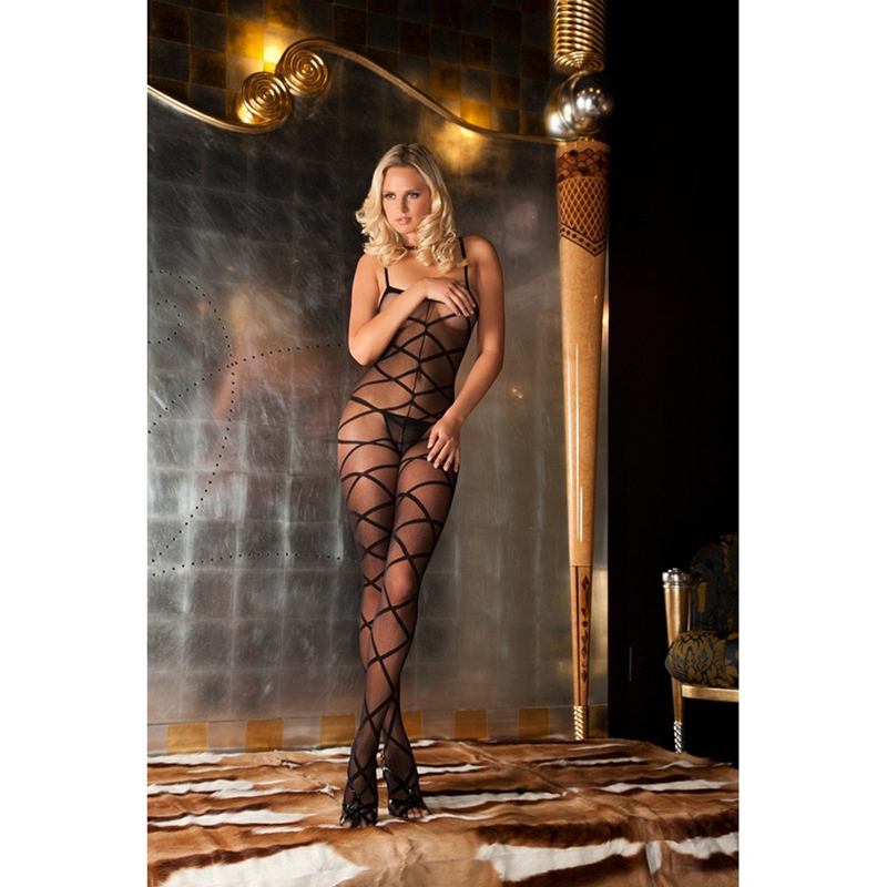 Strapped up sheer bodystocking 1
