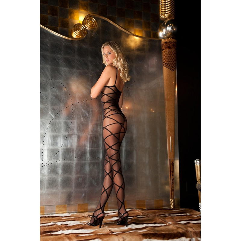Strapped up sheer bodystocking 2